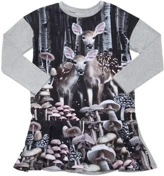 Molo Deer Printed Cotton Jersey Dress