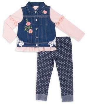 Little Lass Little Girl's Three-Piece Denim Vest, Ruffled Top and Printed Leggings Set