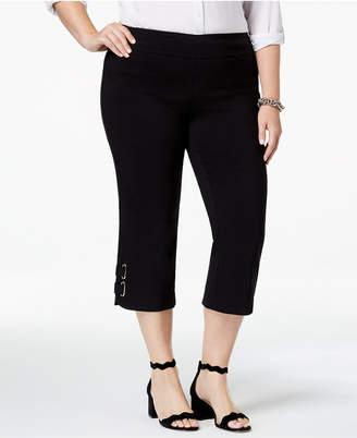JM Collection Plus Size Buckle-Hem Capri Pants, Created for Macy's