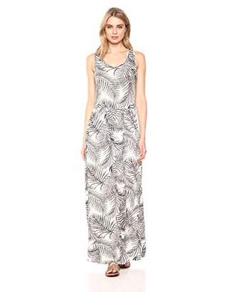 28 Palms Women's Tropical Hawaiian Print Sleeveless Maxi Dress