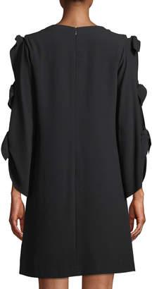 Tahari ASL Tie-Sleeve Crepe Shift Dress