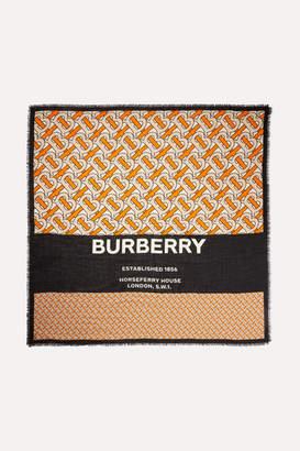 Burberry Fringed Printed Cashmere Wrap - Orange