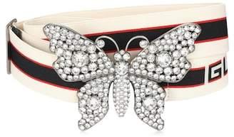 Gucci Crystal-embellished striped belt