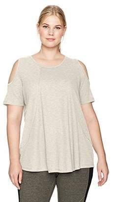 Calvin Klein Women's Plus Size Short Sleeve Cold Shoulder Tee