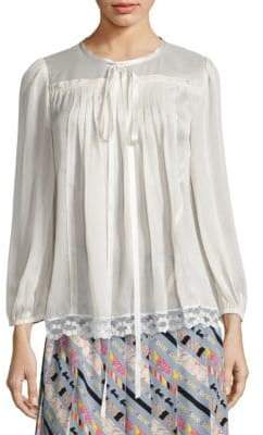 Marc Jacobs Ruched Button-Back Peasant Top