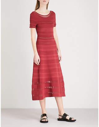 Sandro Mesh-panelled stretch-knit midi dress