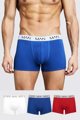 BoohoomanBoohooMAN Mens Multi 3 Pack Mixed Colour MAN Dash Trunks, Multi