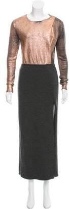 Cédric Charlier Metallic-Accented Virgin Wool Dress