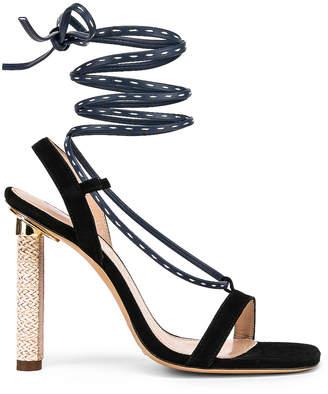 Jacquemus Bergamo Sandals in Navy Leather | FWRD