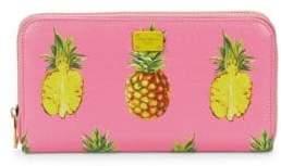 Dolce & Gabbana Pineapple Leather Zip-Around Wallet