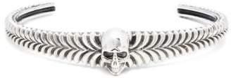 Emanuele Bicocchi - Engraved Skull Cuff Bracelet - Mens - Silver