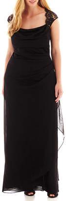JCPenney Scarlett Sleeveless Faux-Wrap Lace Trim Gown - Plus