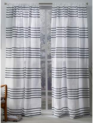 Home Outfitters Monet Pleated Sheer Linen Cabana Stripe Window Curtain Panel Pair with Rod Pocket