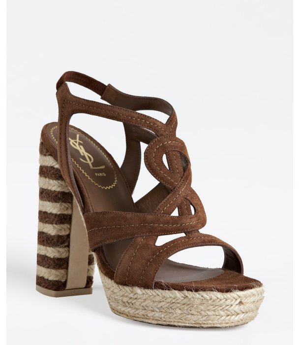 Yves Saint Laurent light brown suede 'Gipsy Chyc 105' platform sandals