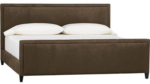 Crate & Barrel Tanner Leather King Bed