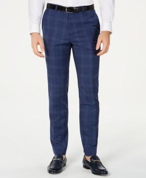 HUGO BOSS Men's Slim-Fit Open Blue Check Suit Pants