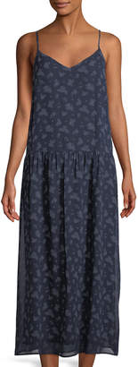 Vince Floral Calico Silk Drop-Waist Dress