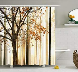 Ambesonne Shower Curtain Fall Trees Print Mom Gift Ideas Polyester Fabric Hooks Included