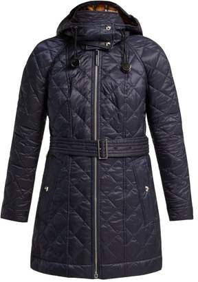 Burberry Baughton Diamond Quilted Hooded Jacket - Womens - Dark Blue