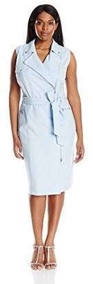 Calvin Klein Women's Plus Size Sleeveless Heathered Moto Dress