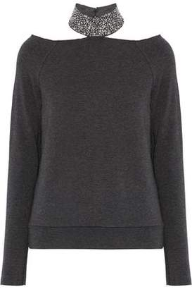 Bailey 44 Cutout Embellished Jersey Top