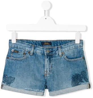 Ralph Lauren TEEN embroidered denim shorts