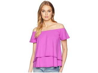Susana Monaco Off Shoulder Double Layer Flutter Top Women's Clothing