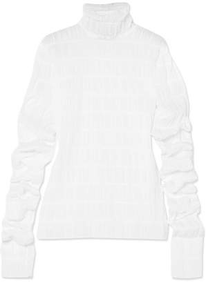 Y/Project Ruched Cotton-blend Turtleneck Top - White