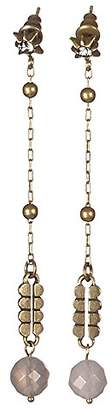 Sous le sable Brass Pendant Earrings Agate and Sienna
