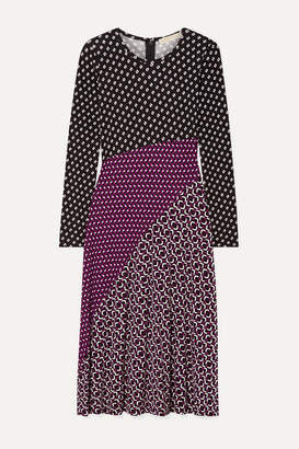 MICHAEL Michael Kors Paneled Printed Stretch-jersey Midi Dress - Purple