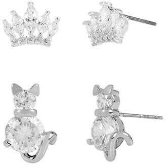 Betsey Johnson Cat and Crown Stud Earring Set