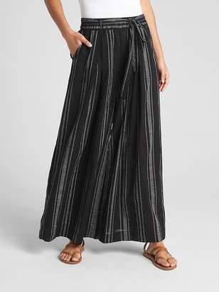 Gap Stripe Gauze Wide-Leg Pants with Tie-Belt