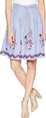 Nine West Women's Embroidered Seersucker Skirt with Detailing