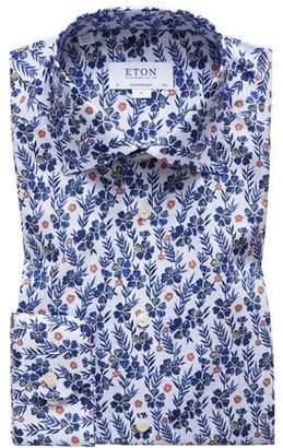 Eton Men's Floral-Print Contemporary-Fit Dress Shirt