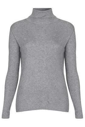 TopShop Womens Fine Gauge Rib Rollneck Jumper - Grey