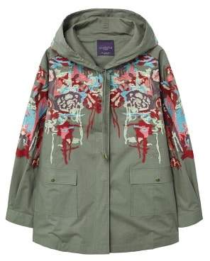 Violeta BY MANGO Embroidered cotton parka