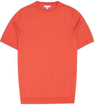 Reiss Carlton - Knitted Crew Neck Top in Orange
