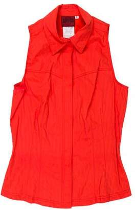 Versace Sleeveless Collared Top