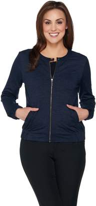 Halston H By H by Space Dye Bomber Jacket with Mesh Trim