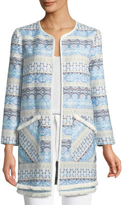 Catherine Malandrino Geometric-Jacquard Long-Blazer Jacket