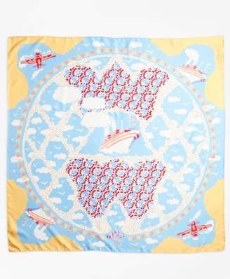 Brooks Brothers Hula-Dancer-Print Silk Square Scarf