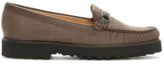 Daniel Guppy Taupe Suede Croc Embossed Loafers