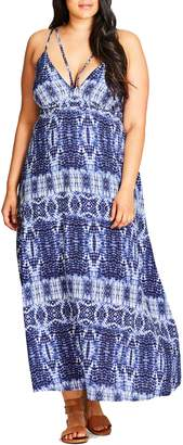 City Chic Tie Dye Blues Maxi Dress