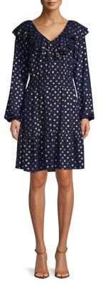 MICHAEL Michael Kors Ruffle V-Neck A-Line Dress