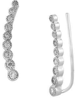 Effy Diamond and 14K White Gold Ear Crawlers