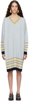 Loewe (ロエベ) - Loewe ブルー ストライプ ウール V ネック セーター ドレス