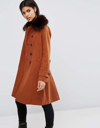 ASOS Wool Blend Coat with Military Details and Fur Trim $128 thestylecure.com