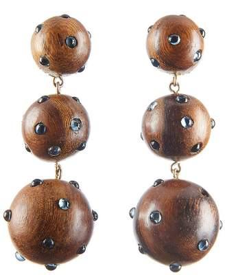 Rebecca De Ravenel Three Drop Wooden Earrings