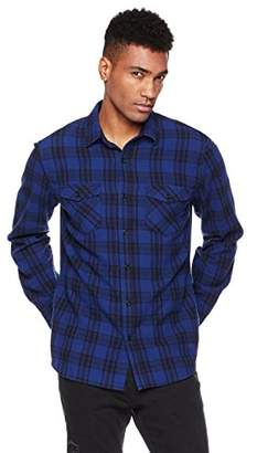 Wood Paper Company Men's Long Sleeve Regular Fit Angled Flap Pockets Cotton Plaid Shirt