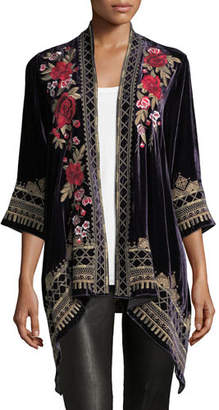 Johnny Was Meri Floral-Embroidered Velvet Cardigan, Petite
